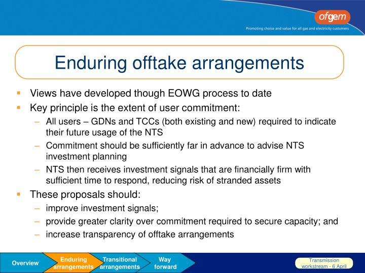 Enduring offtake arrangements