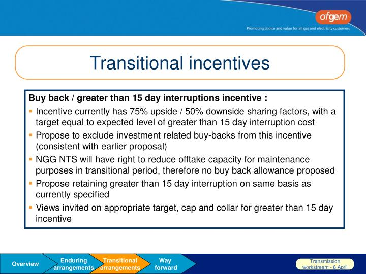Transitional incentives