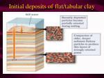 initial deposits of flat tabular clay