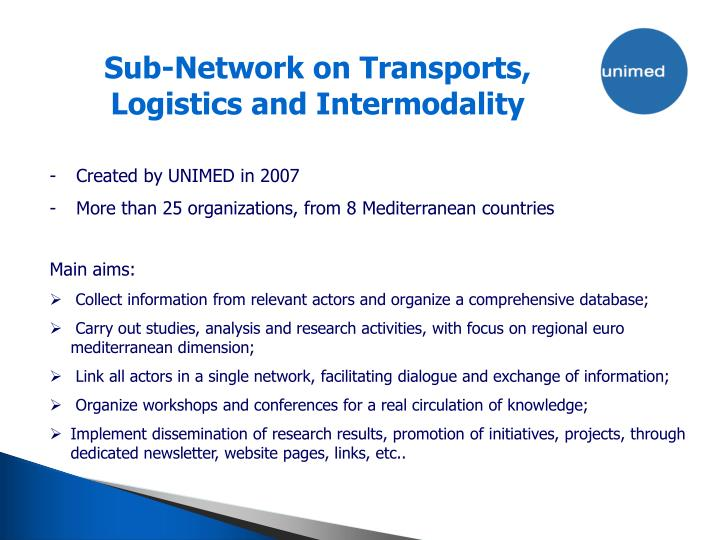 Sub-Network on Transports, Logistics and Intermodality
