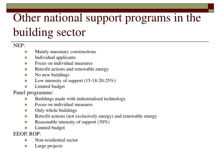 Other national support programs in the building sector