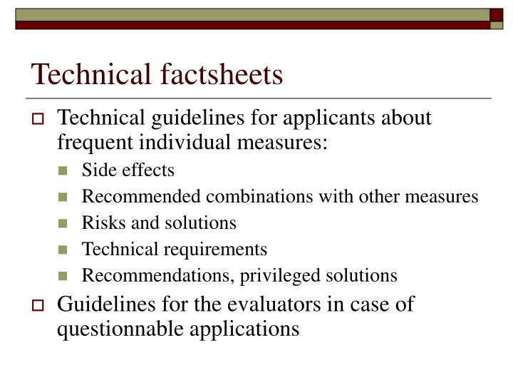 Technical factsheets