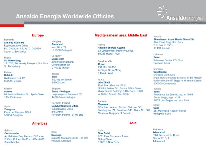 Ansaldo Energia Worldwide Officies