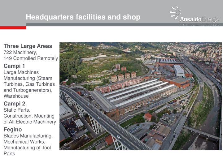 Headquarters facilities and shop