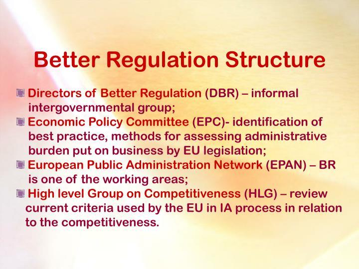 Better Regulation Structure