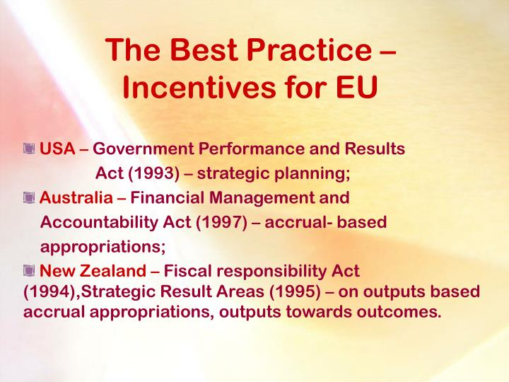 The best p ractice i ncentives for eu