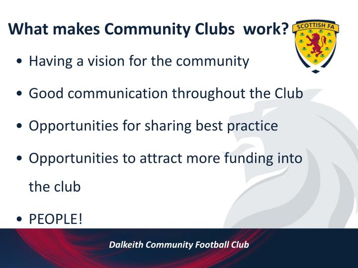 What makes Community Clubs  work?