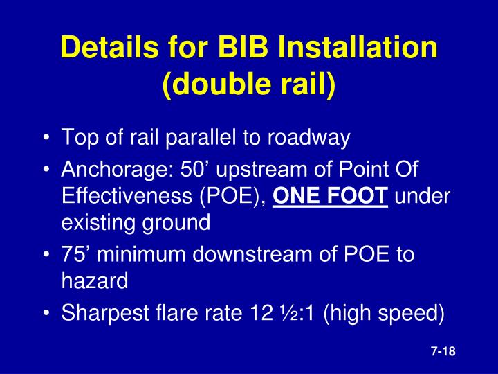 Details for BIB Installation