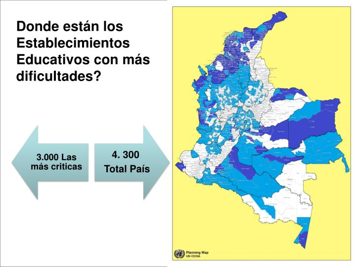 Donde están los Establecimientos Educativos con más dificultades?