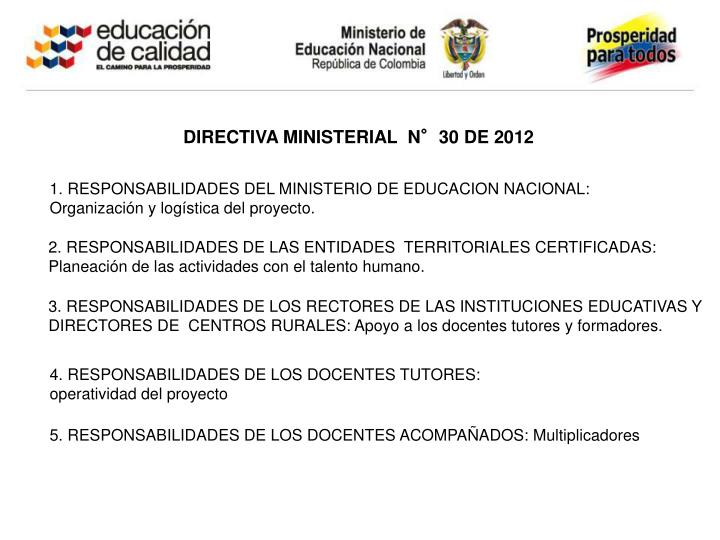 DIRECTIVA MINISTERIAL  N°30 DE 2012
