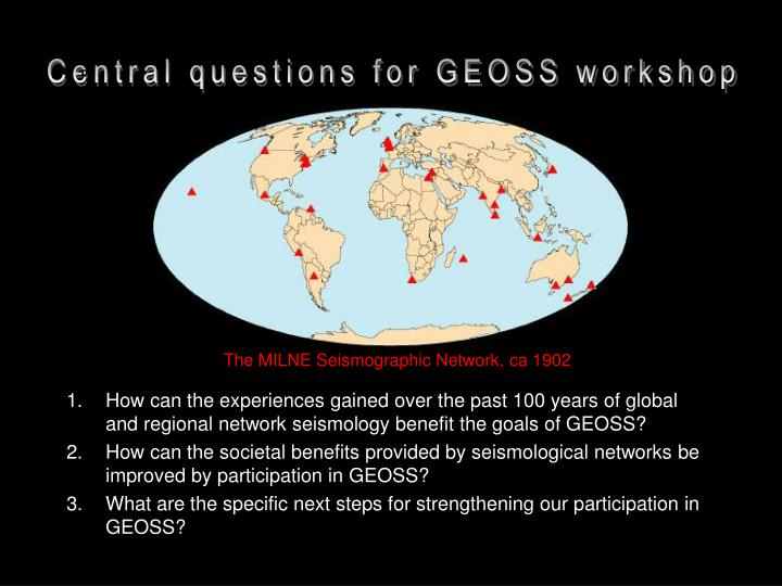 Central questions for EOSS workshop