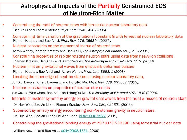 Astrophysical Impacts of the