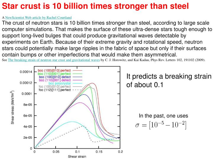 Star crust is 10 billion times stronger than steel