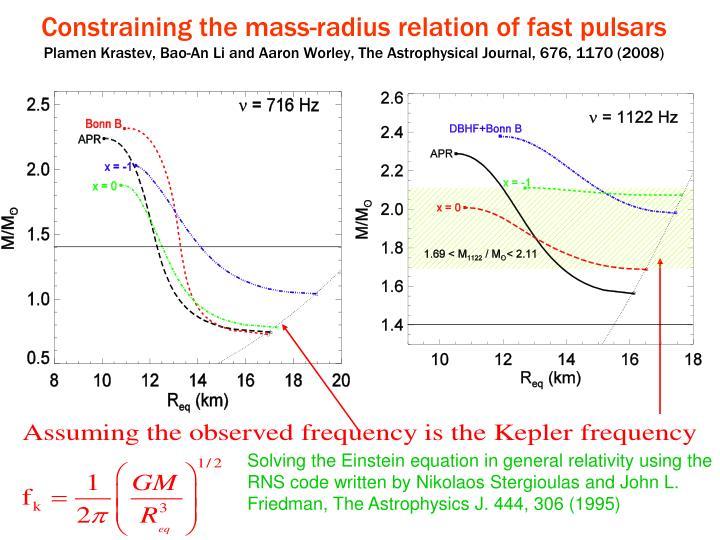 Constraining the mass-radius relation of fast pulsars
