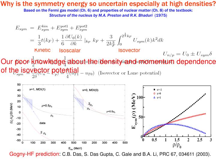 Why is the symmetry energy so uncertain especially at high densities?