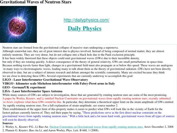 Gravitational Waves of Neutron Stars