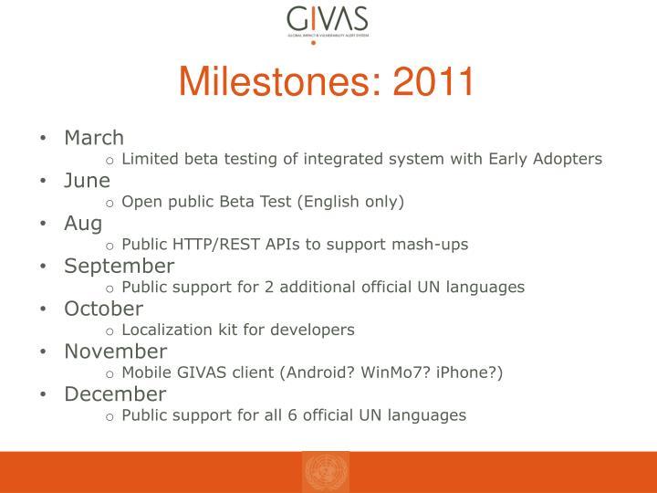 Milestones: 2011