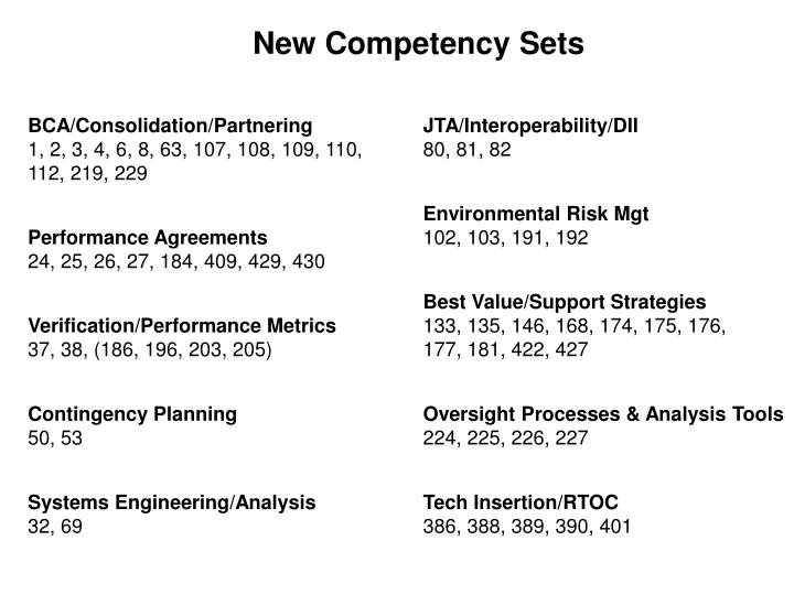 New Competency Sets