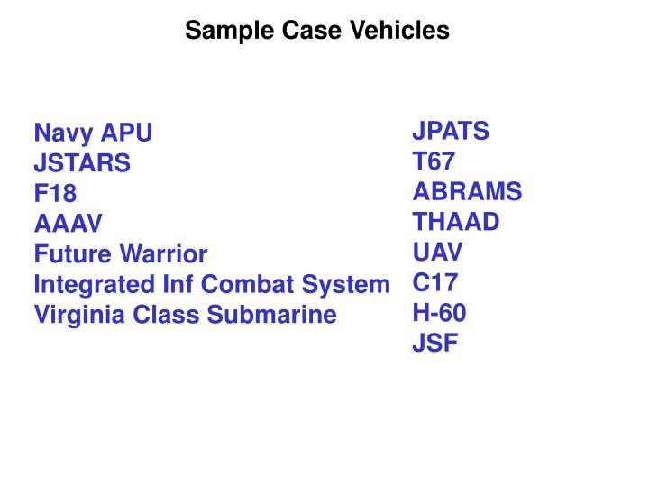 Sample Case Vehicles
