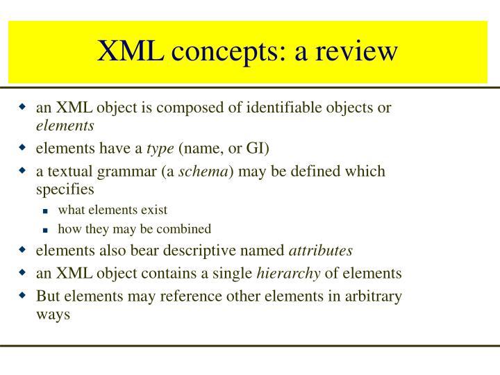 XML concepts: a review