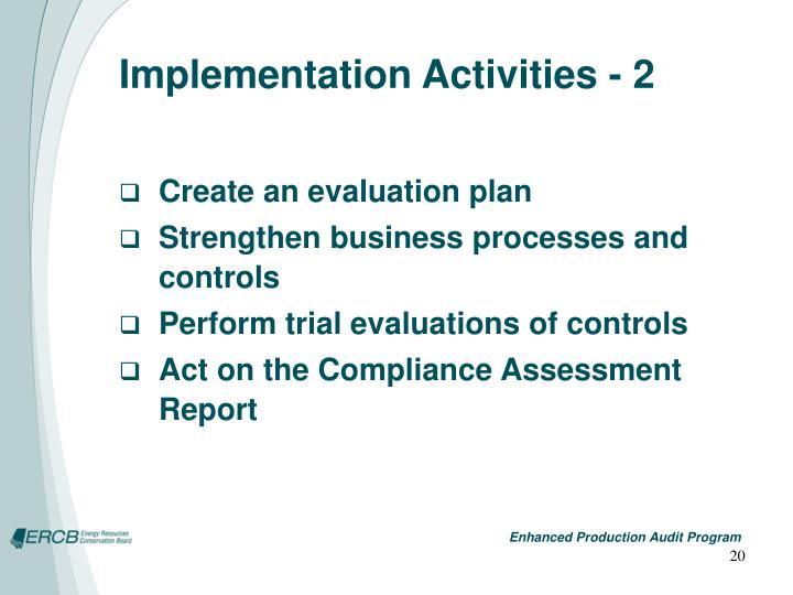 Implementation Activities - 2