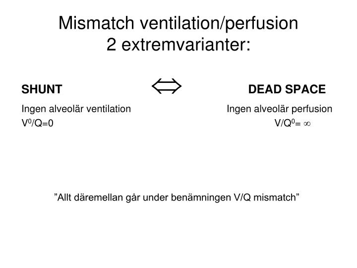 Mismatch ventilation/perfusion