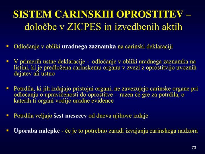 SISTEM CARINSKIH OPROSTITEV –