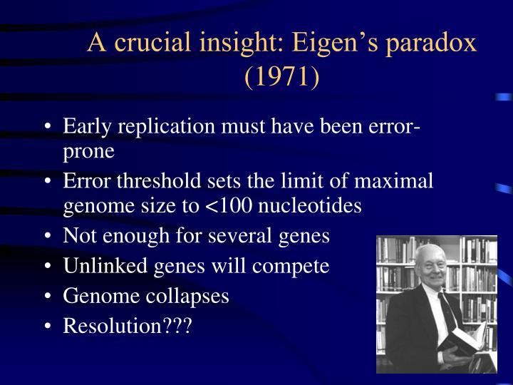 A crucial insight: Eigen's paradox (1971)