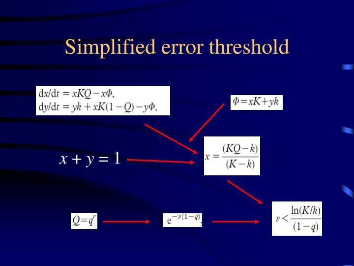 Simplified error threshold