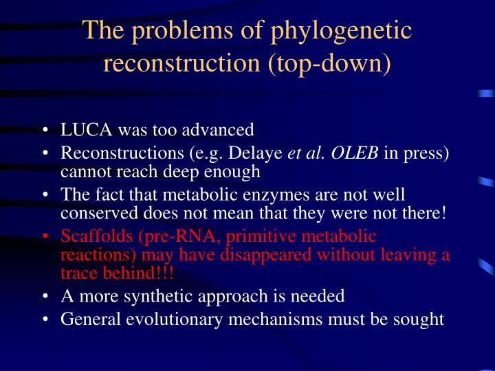 The problems of phylogenetic reconstruction (top-down)