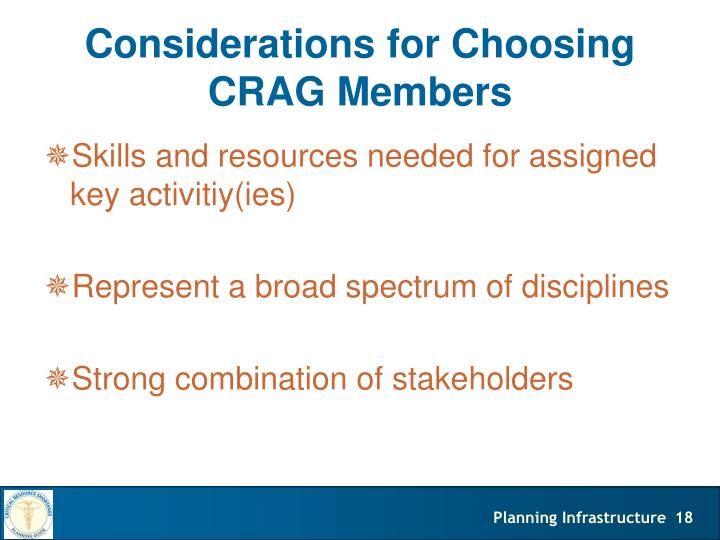 Considerations for Choosing CRAG Members