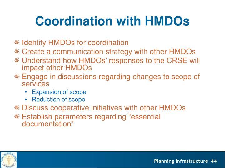 Coordination with HMDOs