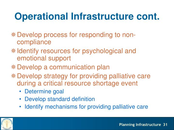 Operational Infrastructure cont.