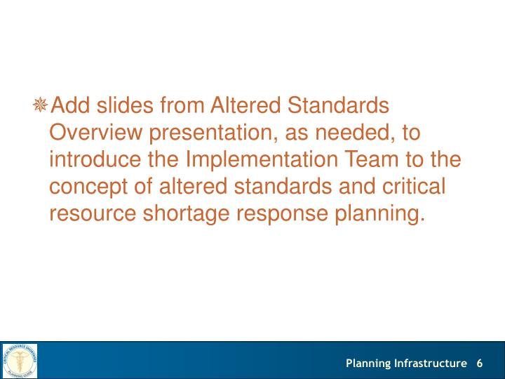 Add slides from Altered Standards Overview presentation, as needed, to introduce the Implementation Team to the concept of altered standards and critical resource shortage response planning.