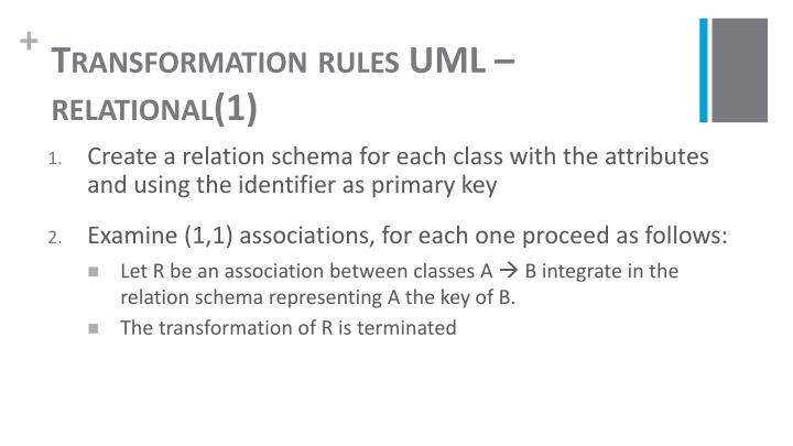 Transformation rules UML – relational(