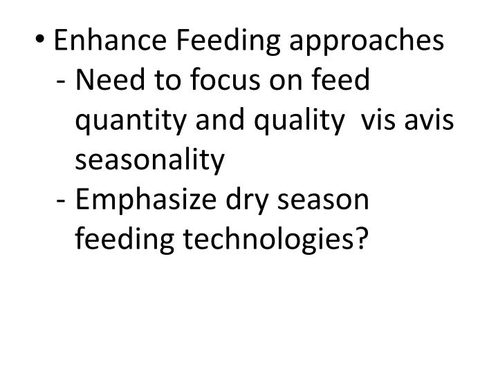 Enhance Feeding approaches