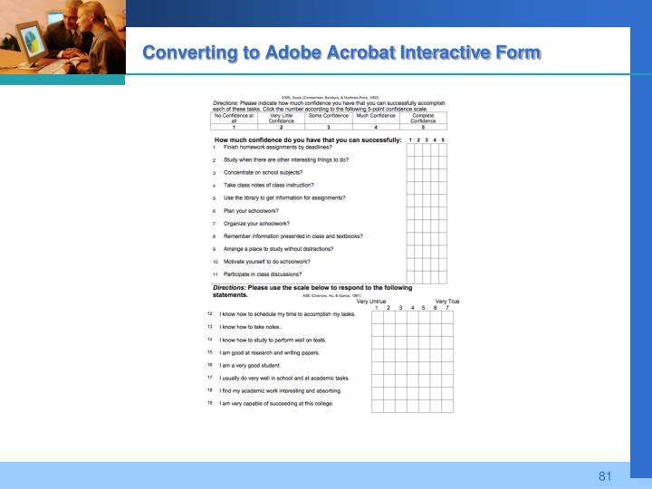 Converting to Adobe Acrobat Interactive Form