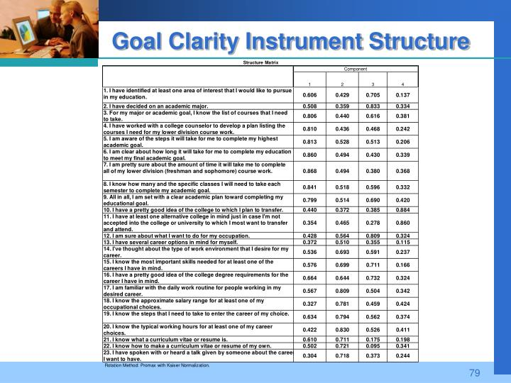 Goal Clarity Instrument Structure