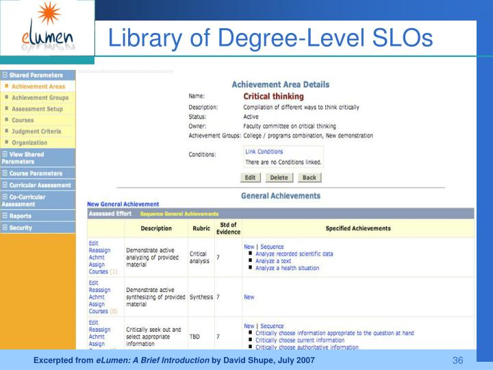 Library of Degree-Level SLOs