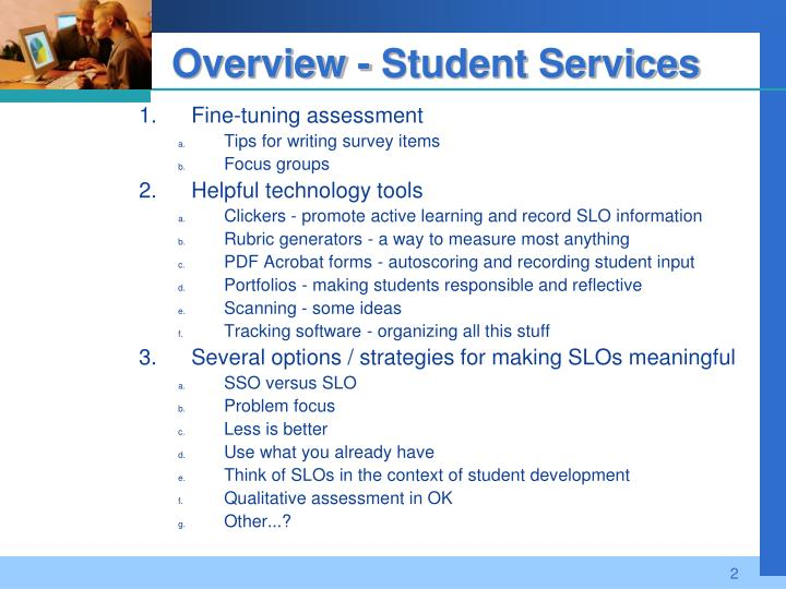 Overview student services