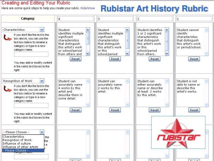 Rubistar Art History Rubric