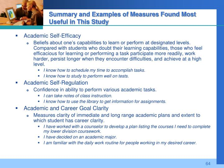 Summary and Examples of Measures Found Most Useful in This Study