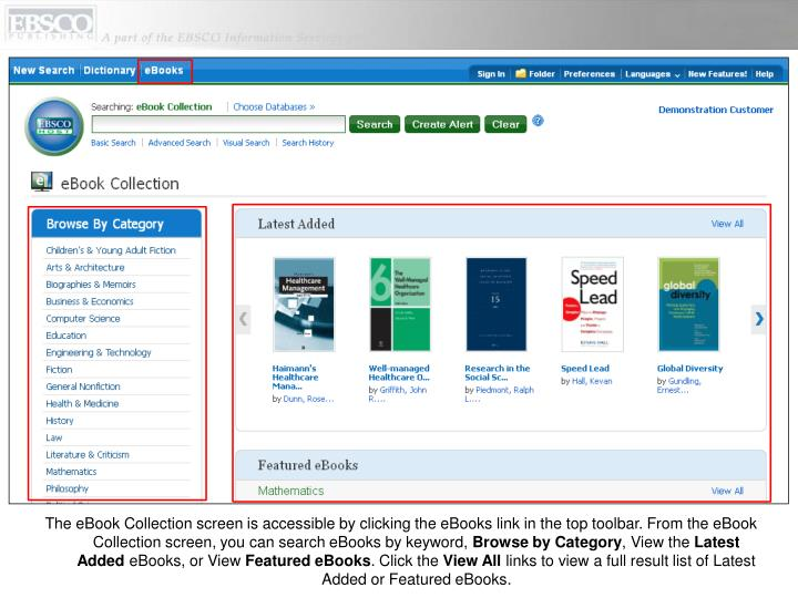 The eBook Collection screen is accessible by clicking the eBooks link in the top toolbar. From the e...