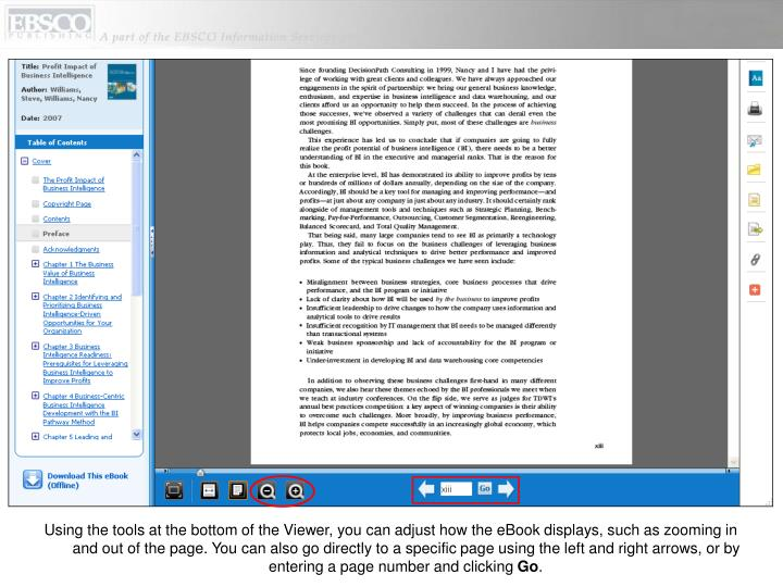 Using the tools at the bottom of the Viewer, you can adjust how the eBook displays, such as zooming in and out of the page. You can also go directly to a specific page using the left and right arrows, or by entering a page number and clicking