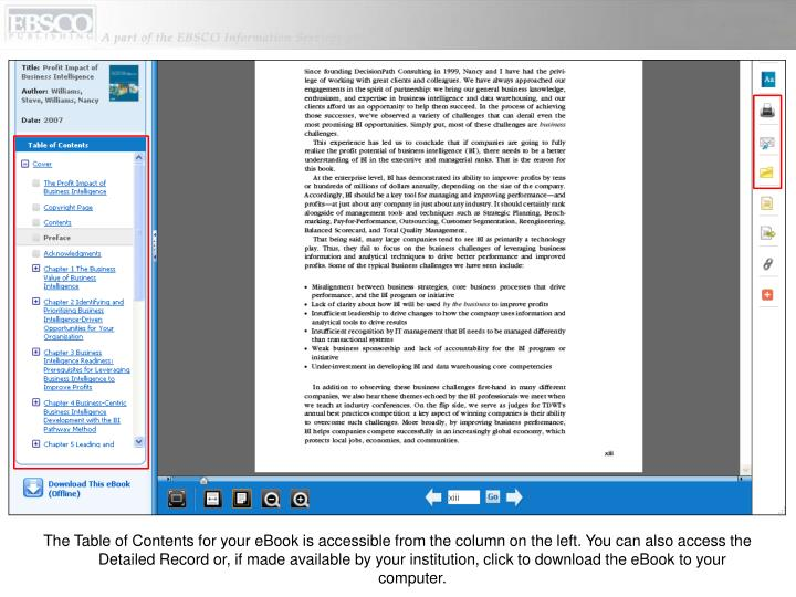 The Table of Contents for your eBook is accessible from the column on the left. You can also access the Detailed Record or, if made available by your institution, click to download the eBook to your computer.