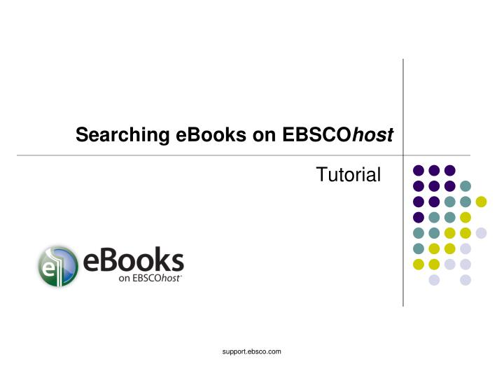 Searching eBooks on EBSCO