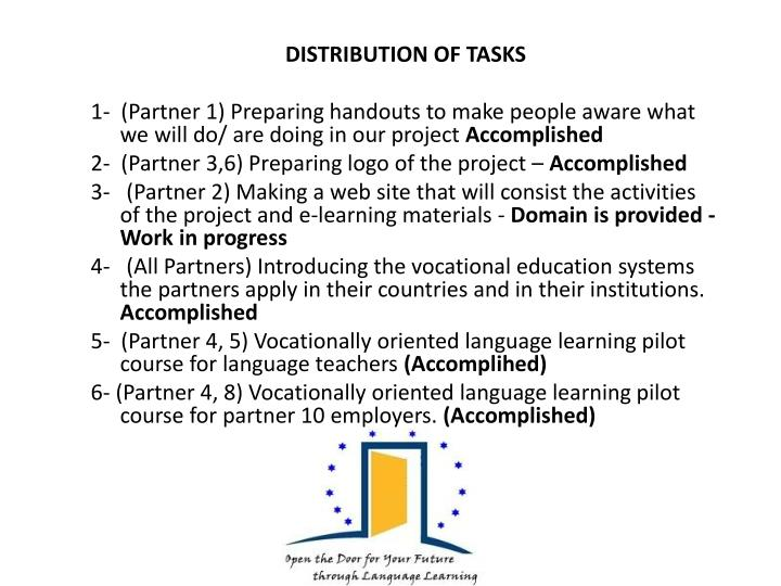 DISTRIBUTION OF TASKS