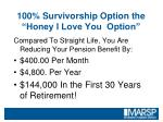 100 survivorship option the honey i love you option