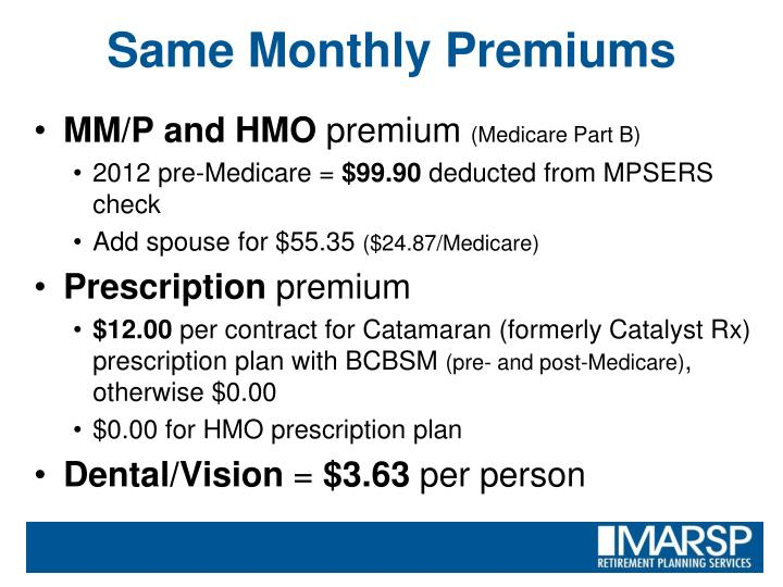 Same Monthly Premiums