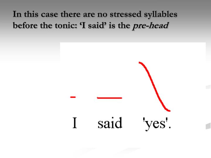 In this case there are no stressed syllables before the tonic: 'I said' is the